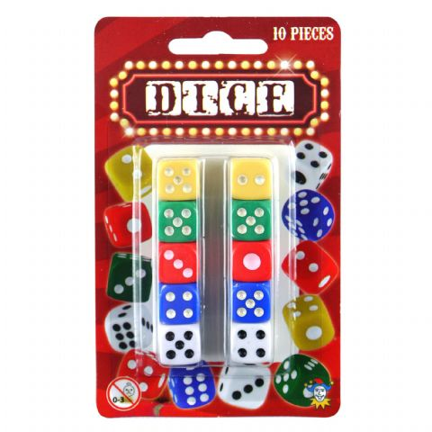 Brightly Coloured Small Plastic 1cm Dice 10 Pieces